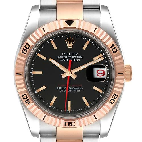 Photo of Rolex Turnograph Datejust Steel Rose Gold Black Dial Watch 116261 Box Papers