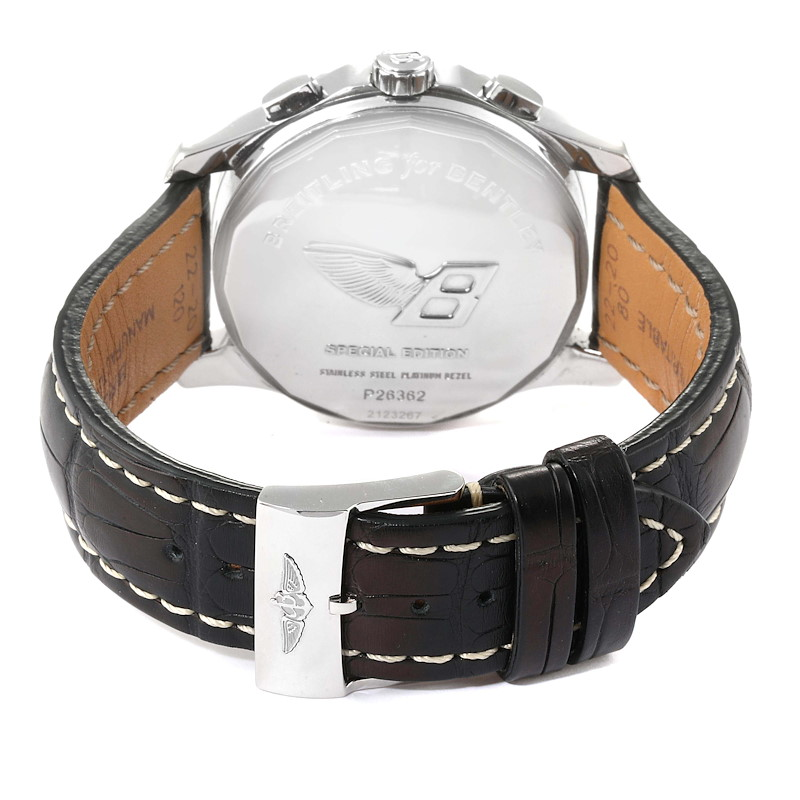 Breitling Bentley Mark VI Black Dial Steel Platinum Mens Watch P26362 SwissWatchExpo