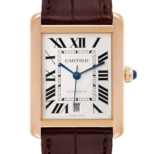 Photo of Cartier Tank Solo XL Rose Gold Silver Dial Steel Mens Watch W5200026