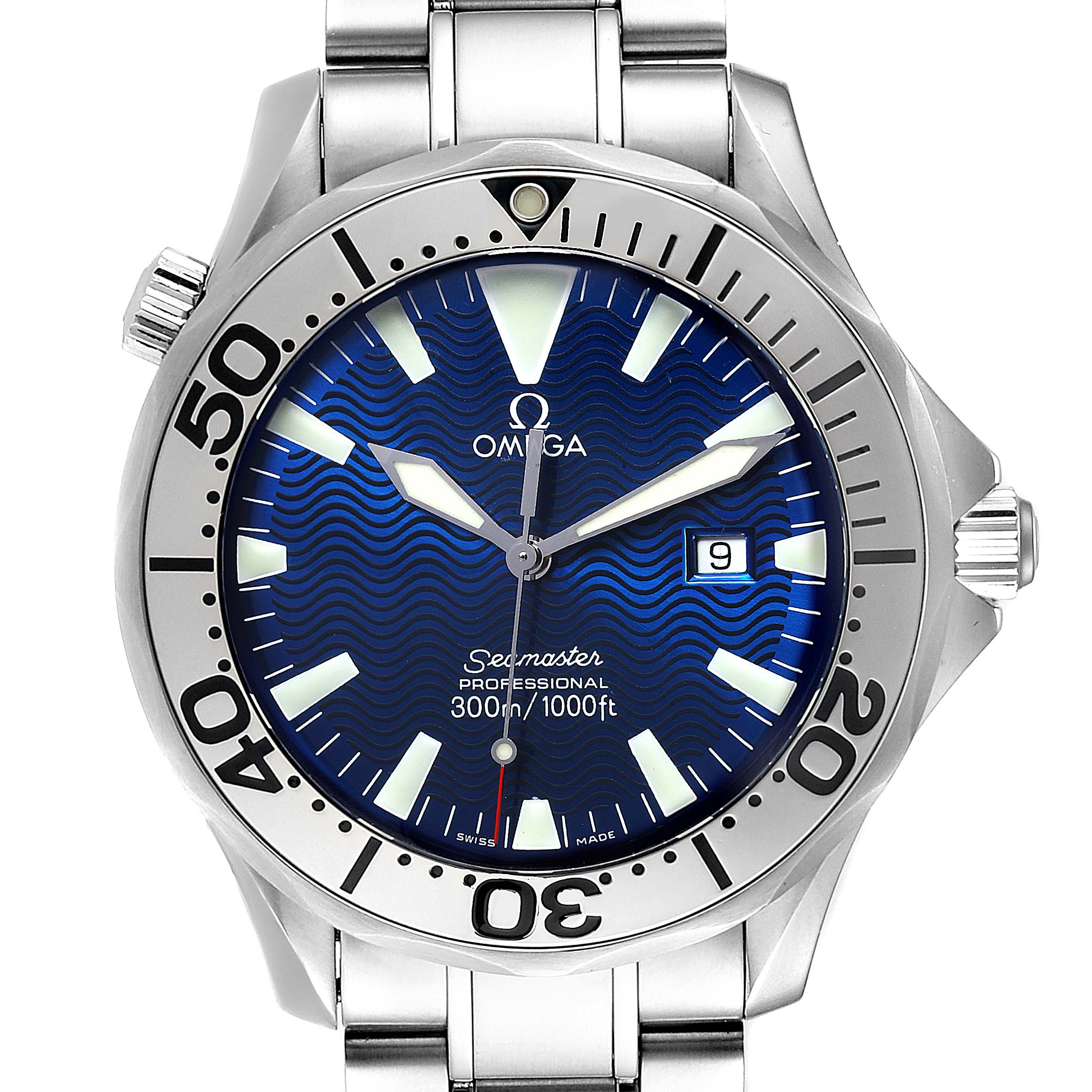 Omega Seamaster Electric Blue Wave Dial Mens Watch 2265.80.00 Card