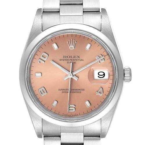 Photo of Rolex Air King 34 Salmon Baton Dial Domed Bezel Steel Mens Watch 15200