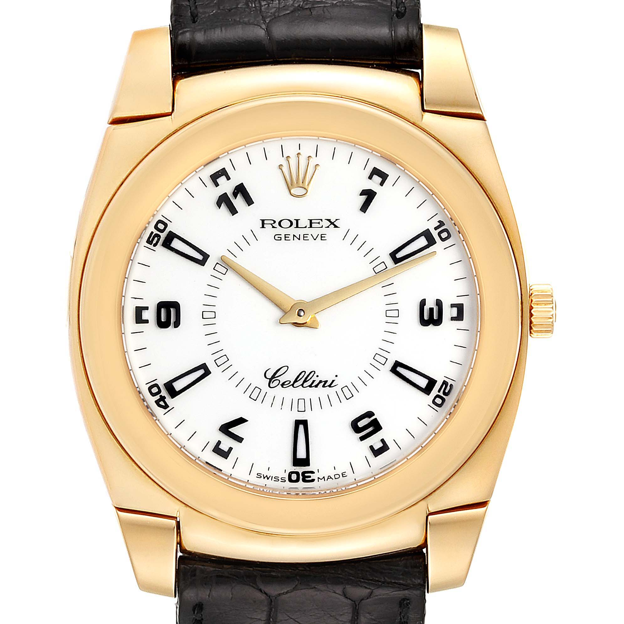 Rolex Cellini Cestello 18K Yellow Gold White Dial Mens Watch 5330