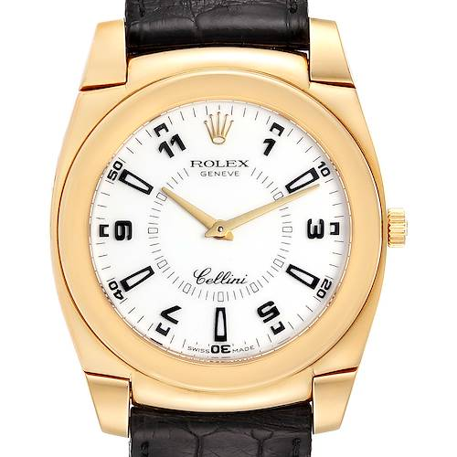 Photo of Rolex Cellini Cestello 18K Yellow Gold White Dial Mens Watch 5330