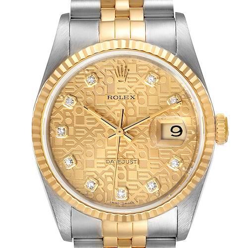 Photo of Rolex Datejust Jubilee Diamond Dial Steel Yellow Gold Mens Watch 16233