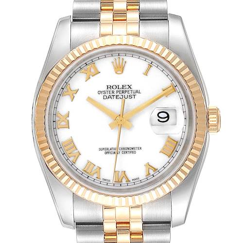 Photo of Rolex Datejust Steel Yellow Gold White Dial Mens Watch 116233 Box Card