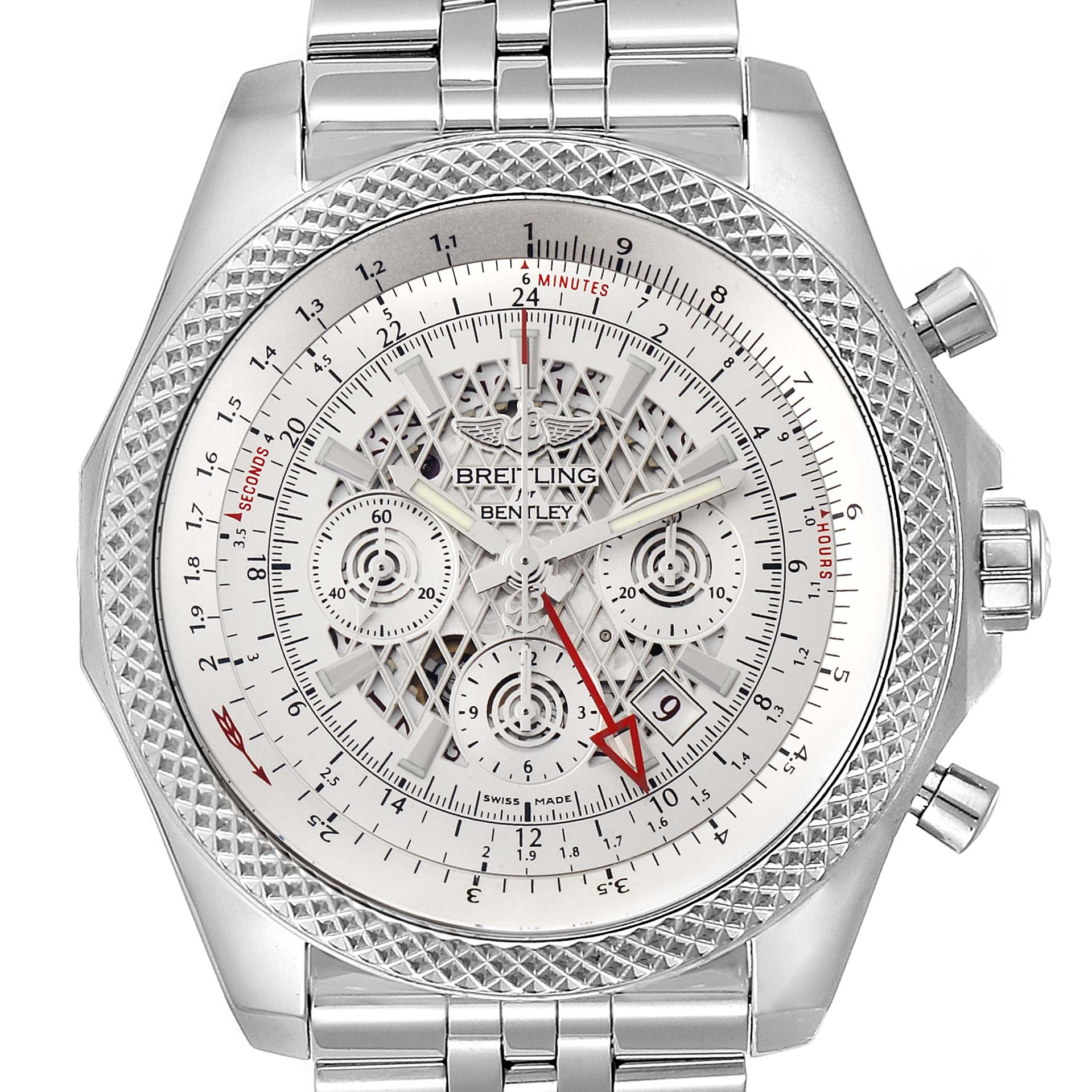 Photo of Breitling Bentley GMT Chronograph Silver Dial Watch AB0431 Box
