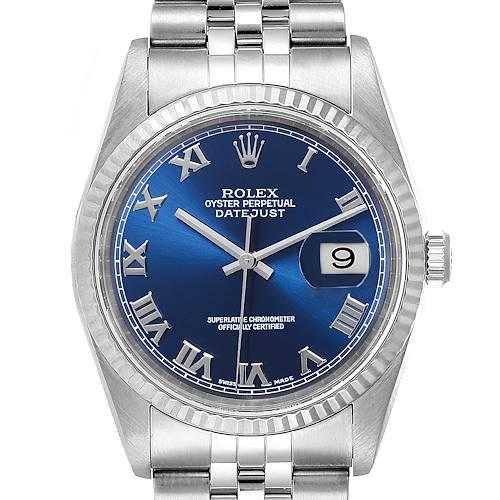 Photo of Rolex Datejust 36 Steel White Gold Fluted Bezel Mens Watch 16234