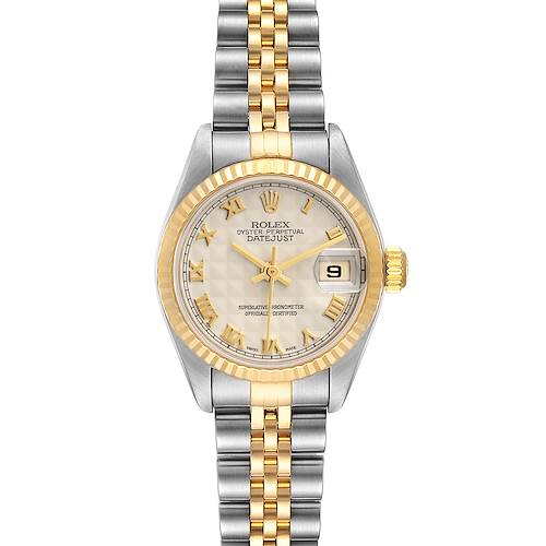 Photo of Rolex Datejust Steel Yellow Gold Pyramid Dial Ladies Watch 79173 Box Papers
