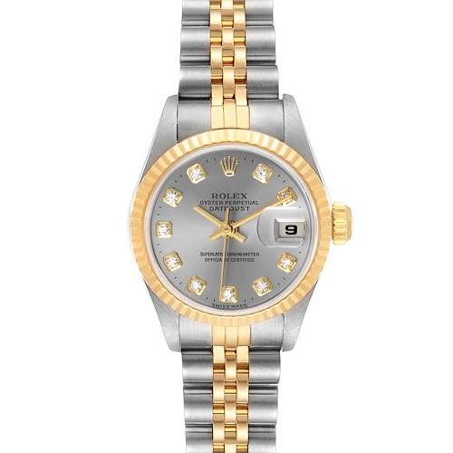 Photo of Rolex Datejust Steel Yellow Gold Silver Diamond Dial Watch 69173 Box Papers