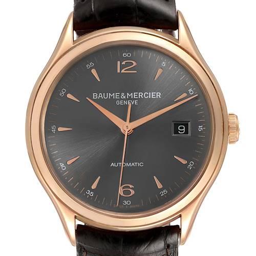 Photo of Baume Mercier Clifton 18k Rose Gold Grey Dial Mens Watch 10059