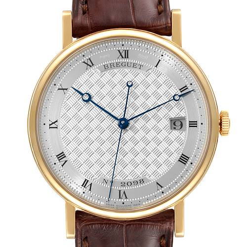 Photo of Breguet Classique 18K Yellow Gold Silver Dial Mens Watch 5177 Tag