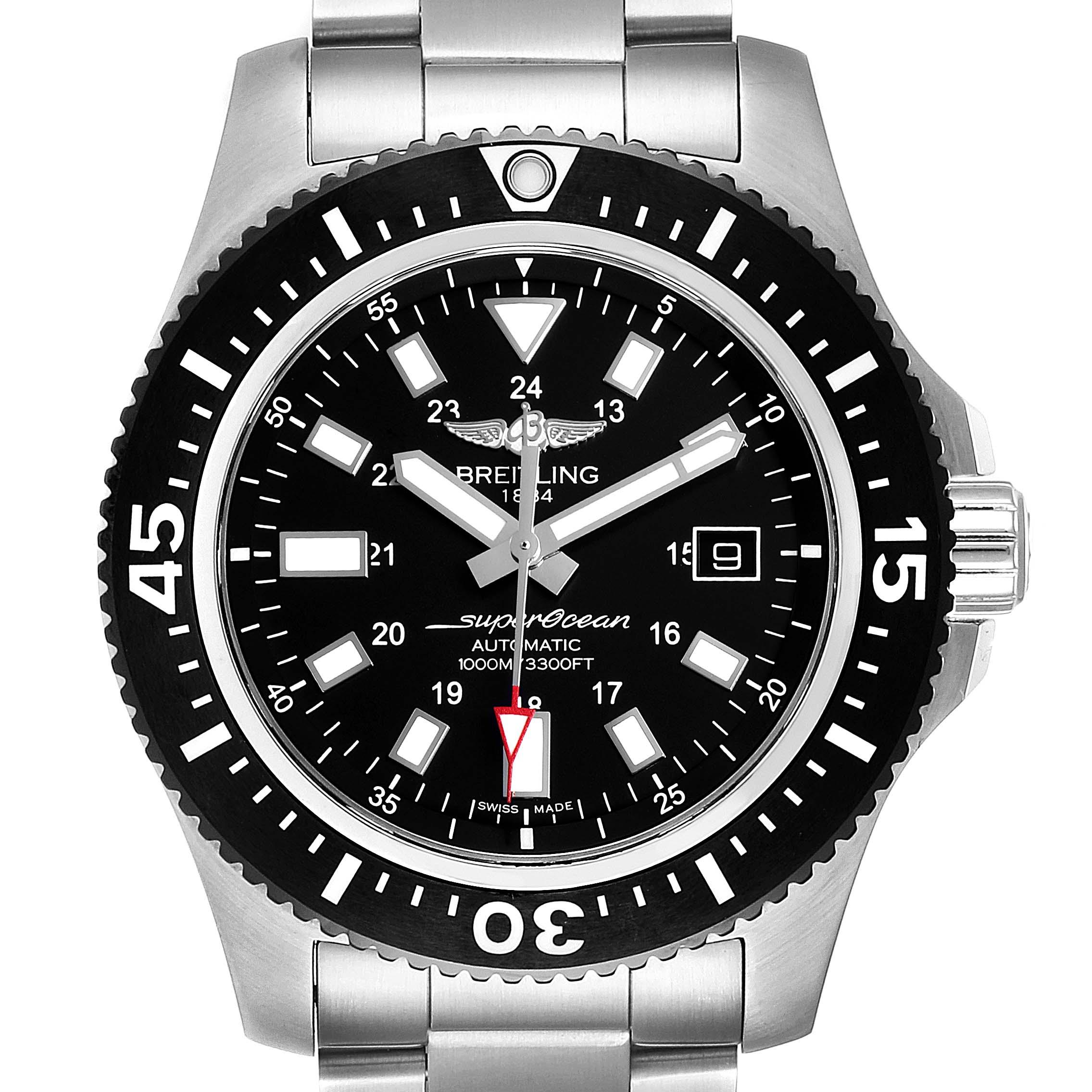 Breitling Aeromarine Superocean 44 Black Dial Watch Y1739310 Box Papers