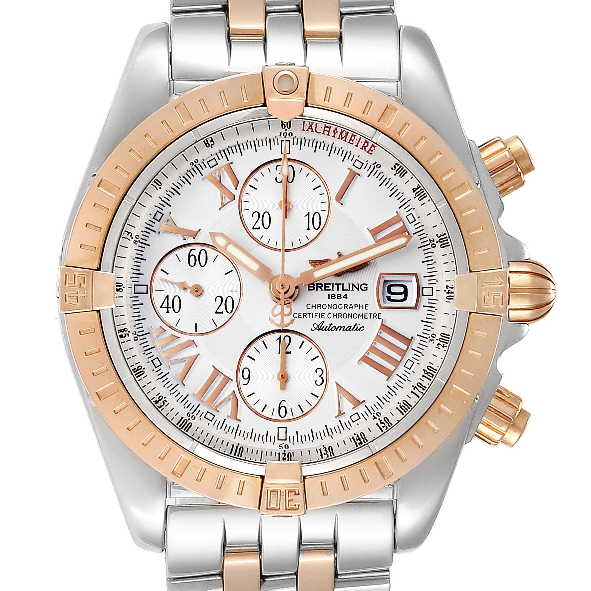 Breitling Chronomat Evolution Steel Rose Gold Mens Watch C13356 Box Papers
