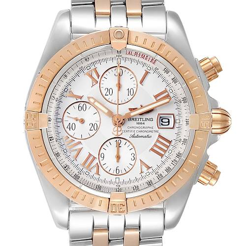 Photo of Breitling Chronomat Evolution Steel Rose Gold Mens Watch C13356 Box Papers
