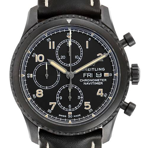 Photo of Breitling Navitimer Chronograph Black Steel Mens Watch A13314 Box Papers