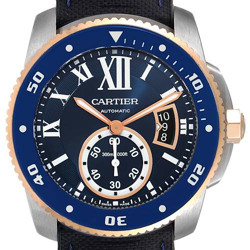 Photo of Cartier Calibre Diver Steel Rose Gold Blue Dial Watch W2CA0008 Box Papers