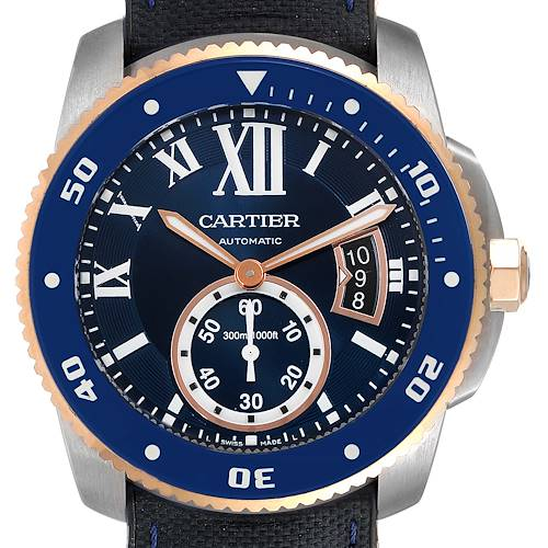 Photo of Cartier Calibre Diver Steel Rose Gold Blue Dial Watch W2CA0009 Box Papers