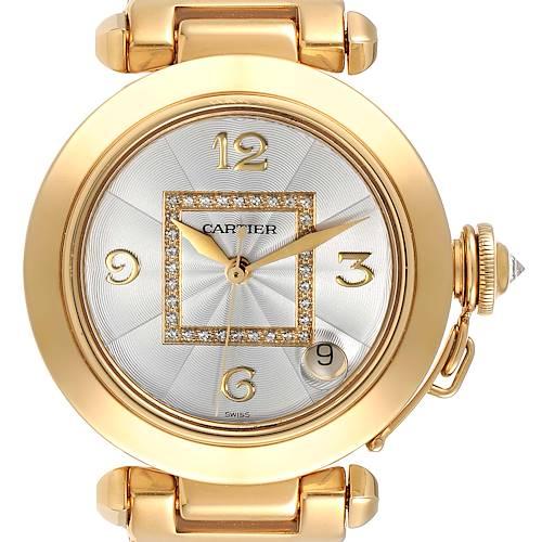 Photo of Cartier Pasha GMT 35mm 18K Yellow Gold Diamond Ladies Watch WJ1110H9