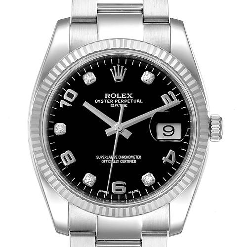 Photo of Rolex Date 34 Steel White Gold Black Diamond Dial Mens Watch 115234