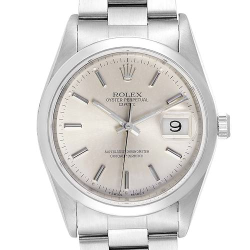 Photo of Rolex Date Silver Dial Oyster Bracelet Automatic Mens Watch 15200