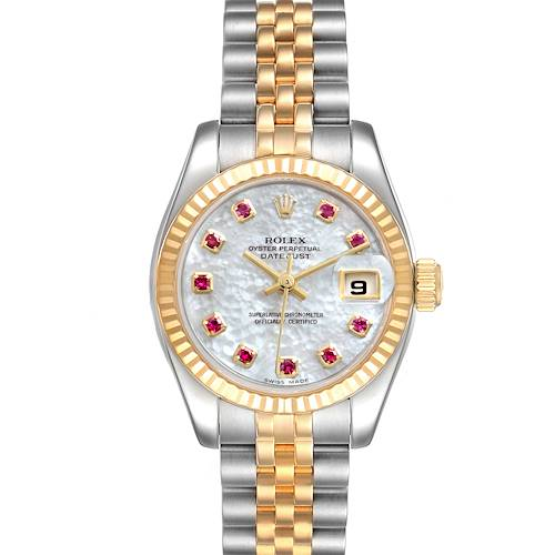 Photo of Rolex Datejust Steel Yellow Gold MOP Ruby Ladies Watch 179173 Box Papers