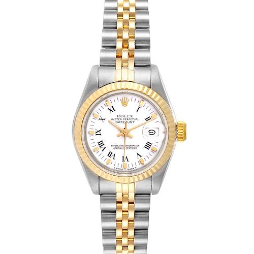 Photo of Rolex Datejust Steel Yellow Gold White Dial Ladies Watch 69173 Box Papers