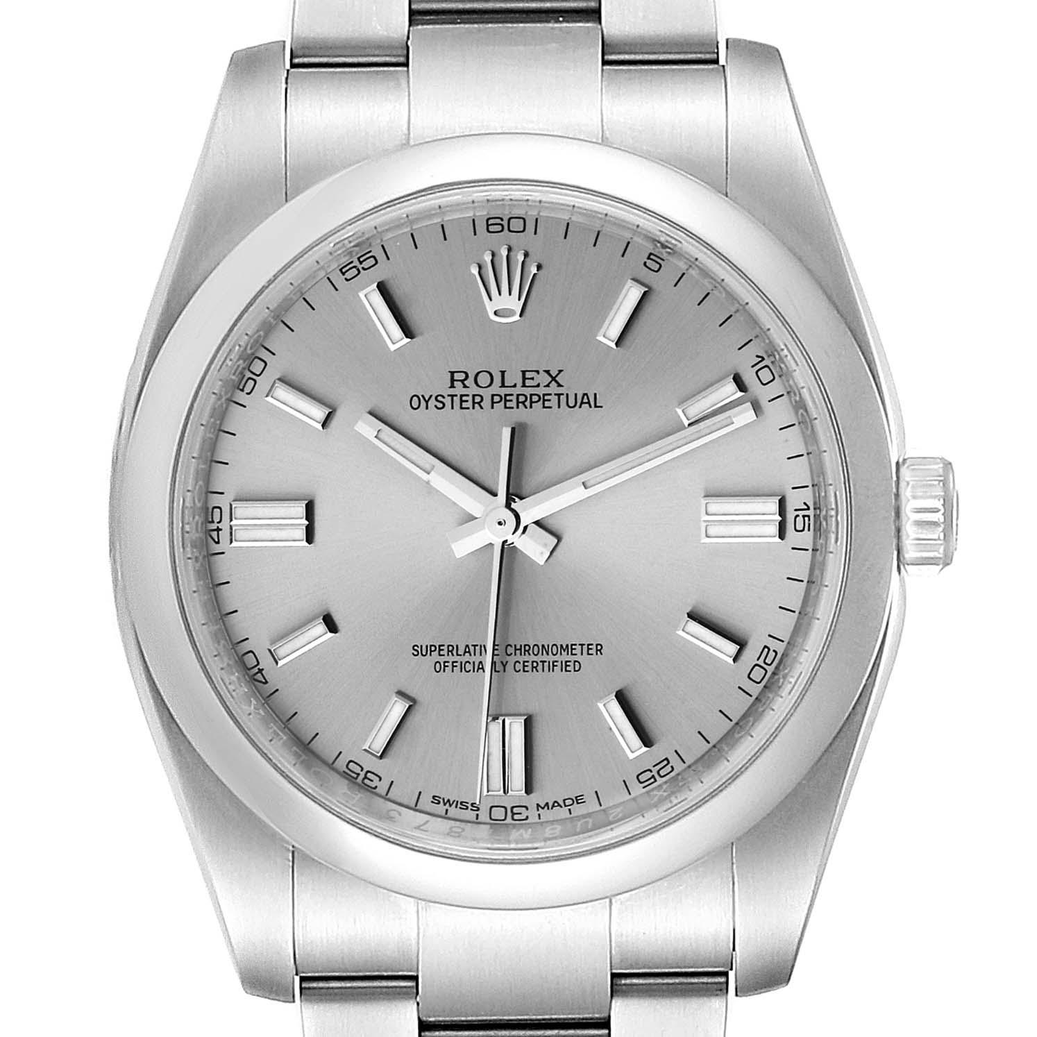 Rolex Oyster Perpetual 36 Rhodium Dial Steel Mens Watch 116000 Box Card