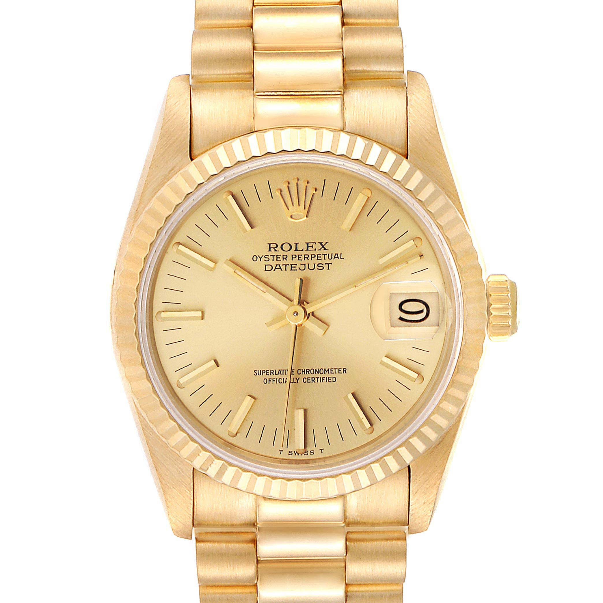 Rolex President Datejust 31mm Midsize Yellow Gold Ladies Watch 68278
