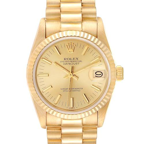 Photo of Rolex President Datejust 31mm Midsize Yellow Gold Ladies Watch 68278