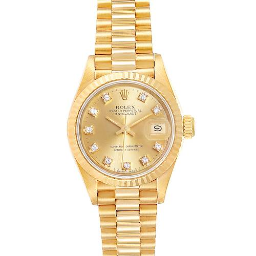 Photo of Rolex President Datejust Yellow Gold Diamond Ladies Watch 69178 Box Papers