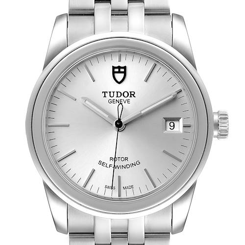 Photo of Tudor Glamour Date Silver Dial Automatic Steel Mens Watch M55000 Box Card