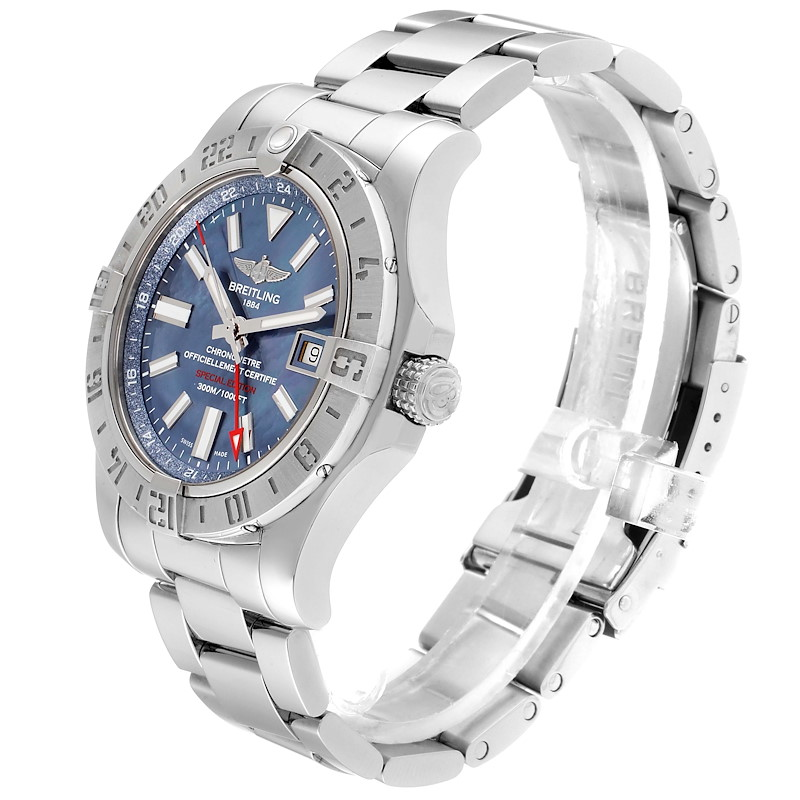 Breitling Aeromarine Avenger II GMT Blue MOP Dial Watch A32390 Box Papers SwissWatchExpo