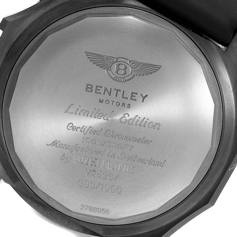 Breitling Bentley Light Body Midnight Carbon Ruber Strap LE Watch V25367 SwissWatchExpo