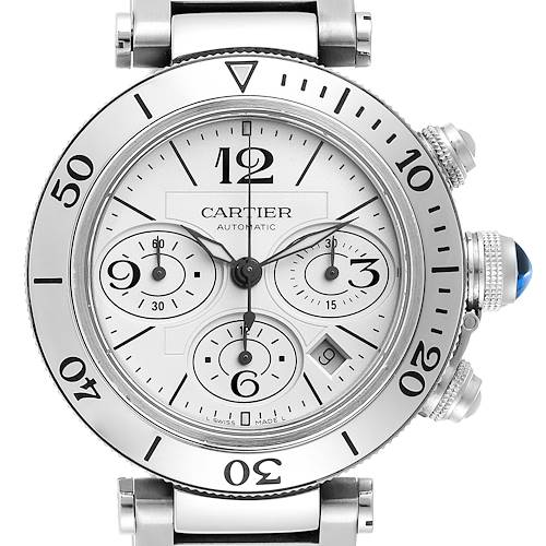 Photo of Cartier Pasha Seatimer Chronograph Steel Mens Watch W31089M7 Box Papers
