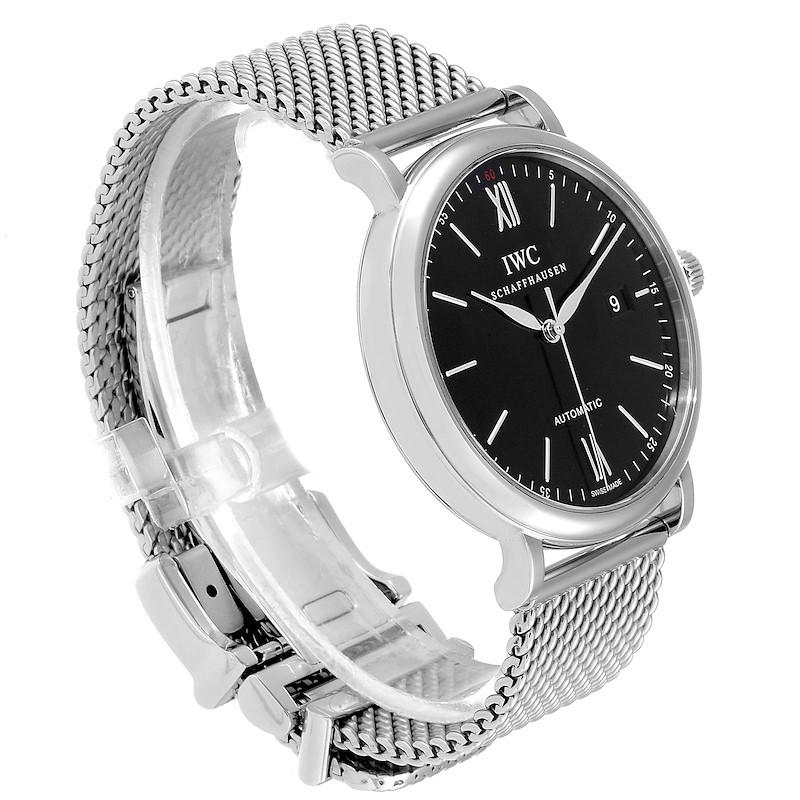 IWC Portofino Black Dial Mesh Bracelet Steel Mens Watch IW356506 SwissWatchExpo