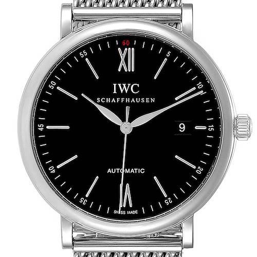 Photo of IWC Portofino Black Dial Mesh Bracelet Steel Mens Watch IW356506