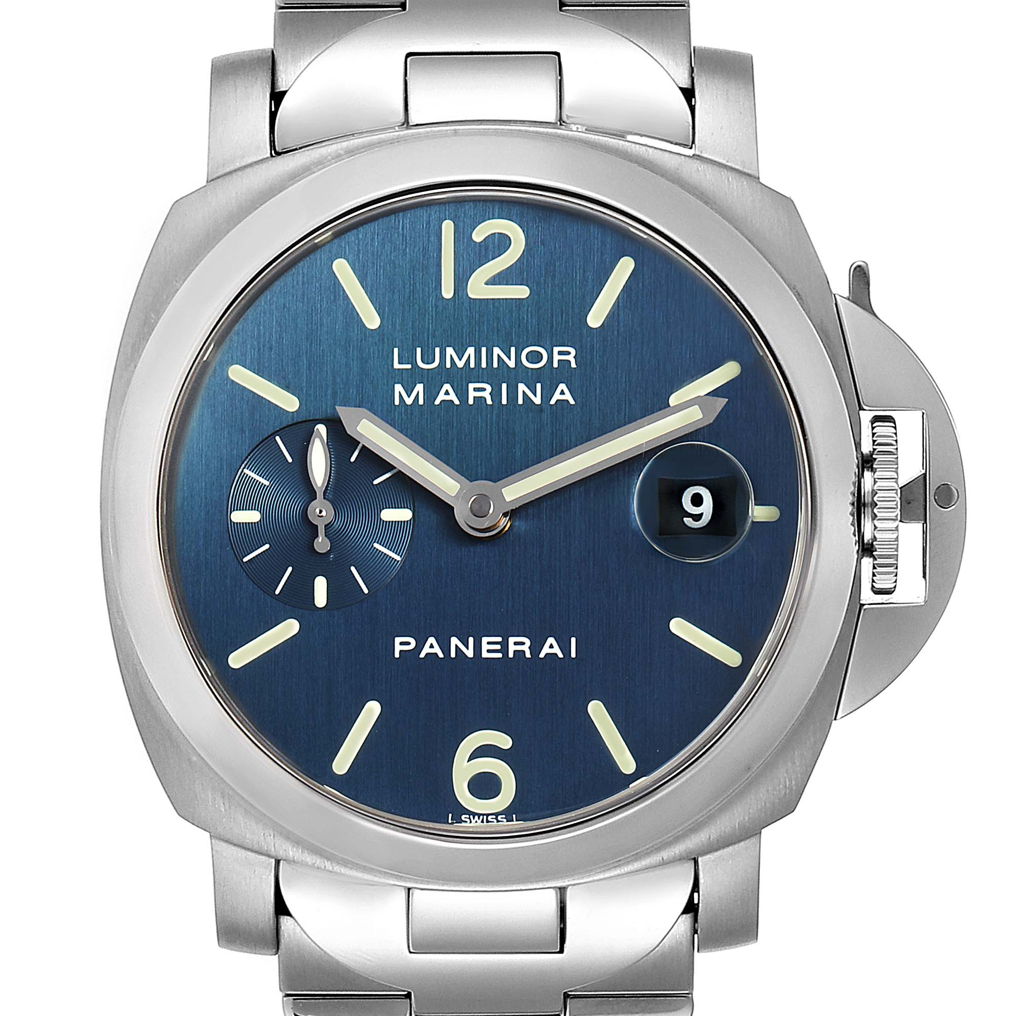 Panerai Luminor Marina Blue Dial Mens Watch PAM00120 Box Papers