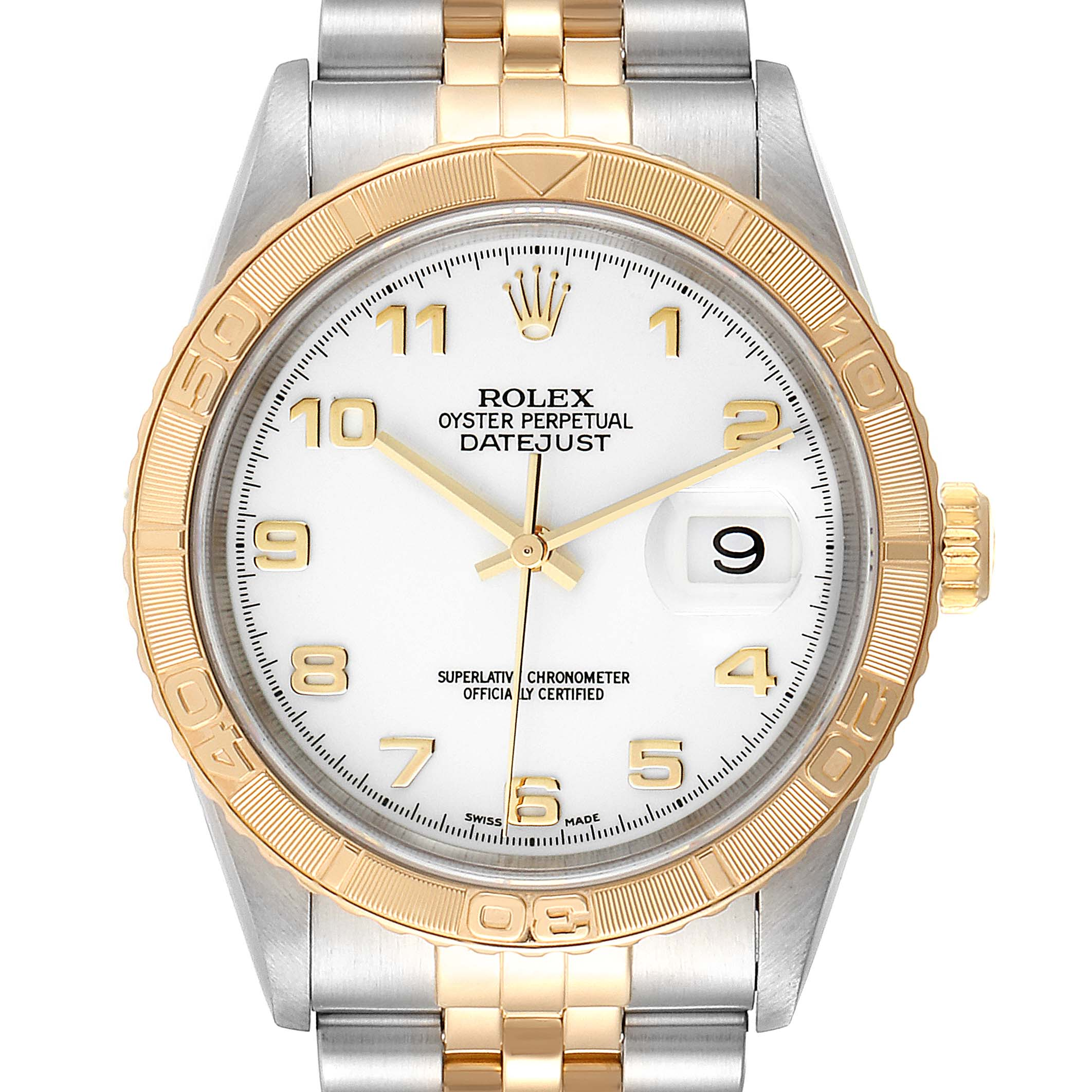 Rolex Datejust Turnograph Steel Yellow Gold Mens Watch 16263 Box Papers
