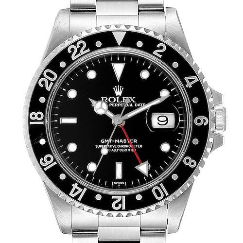Photo of Rolex GMT Master II Black Bezel Steel Mens Watch 16710