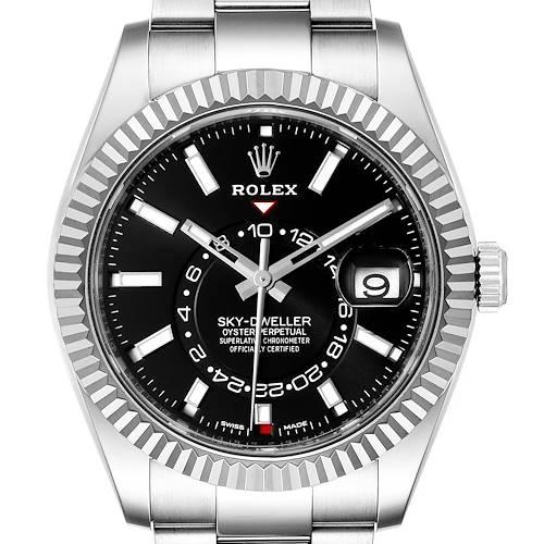 Photo of Rolex Sky-Dweller Black Dial Steel White Gold Mens Watch 326934 Box Card