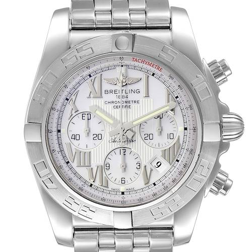 Photo of Breitling Chronomat 01 White Dial Steel Mens Watch AB0110 Box Papers