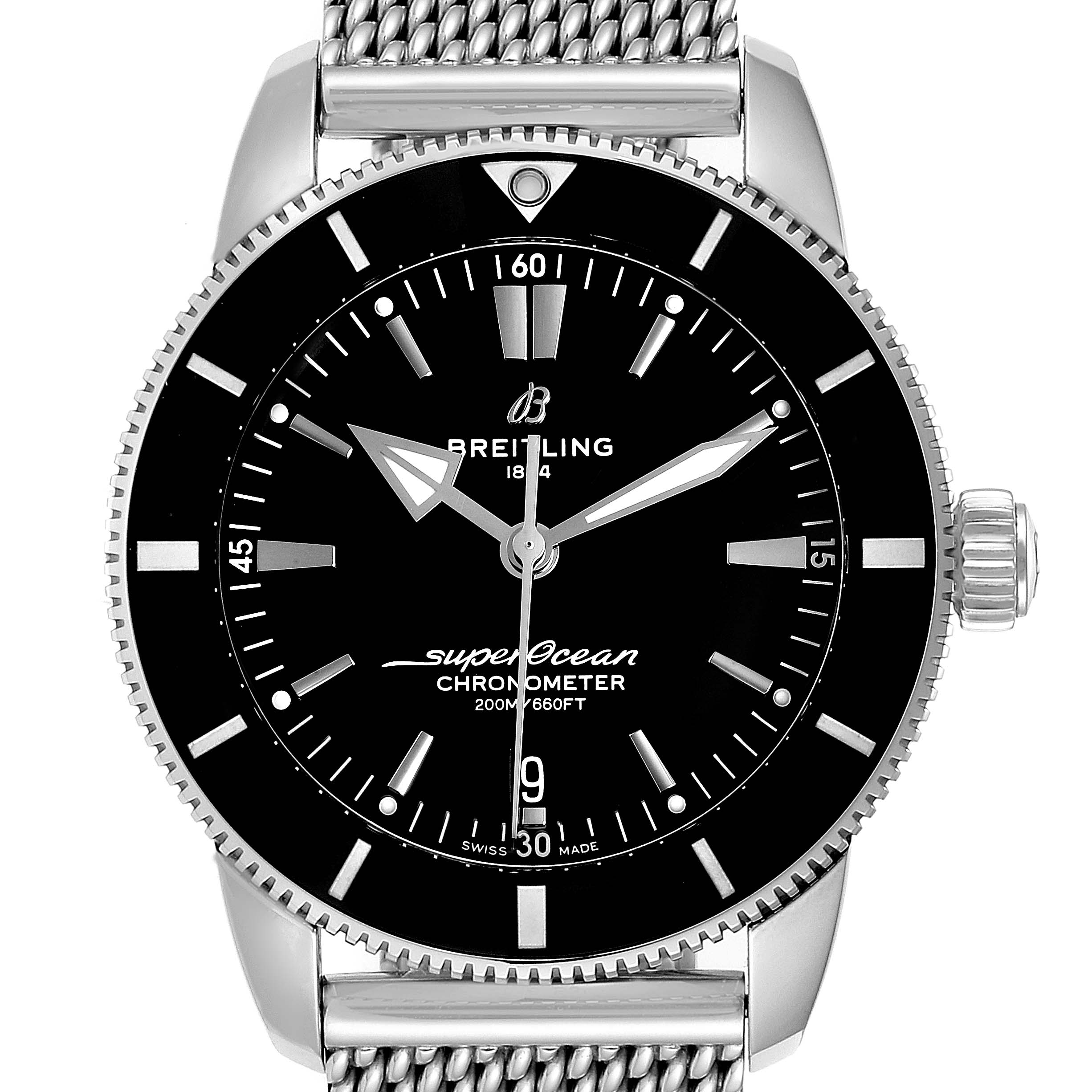 Breitling Superocean Heritage B20 44 Black Dial Mens Watch AB2030 Box Card SwissWatchExpo