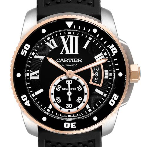 Photo of Cartier Calibre Diver Steel Rose Gold Leather Strap Mens Watch W7100055