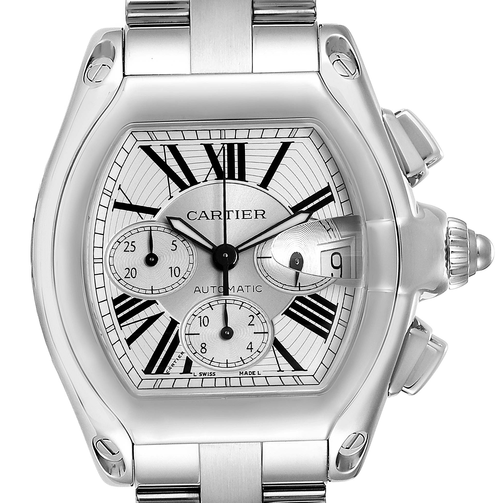 Cartier Roadster XL Chronograph Automatic Mens Watch W62019X6 Box