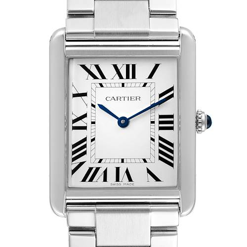 Photo of Cartier Tank Solo Silver Dial Steel Mens Watch W5200014 Box Papers