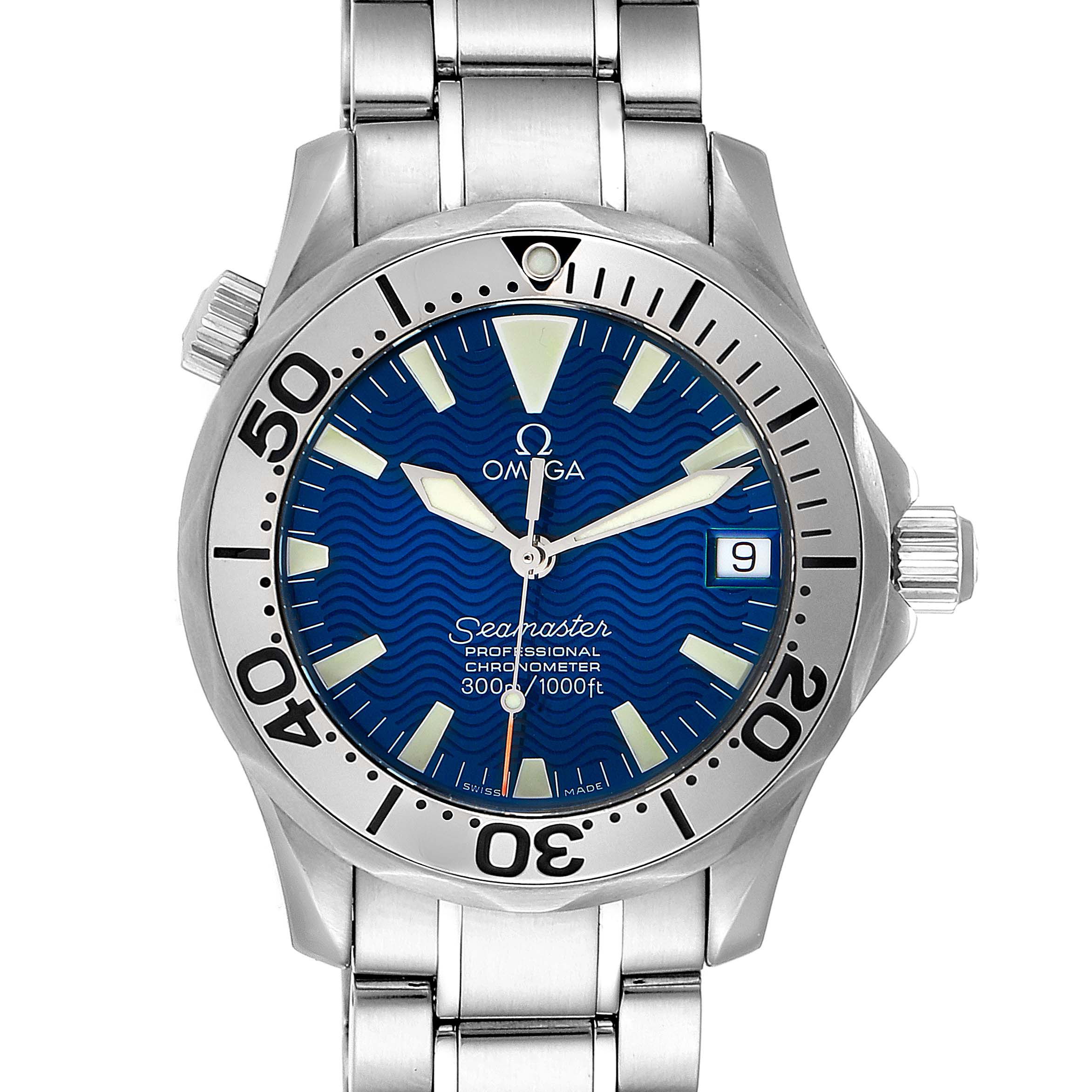 Omega Seamaster Midsize Steel Electric Blue Dial Watch 2553.80.00