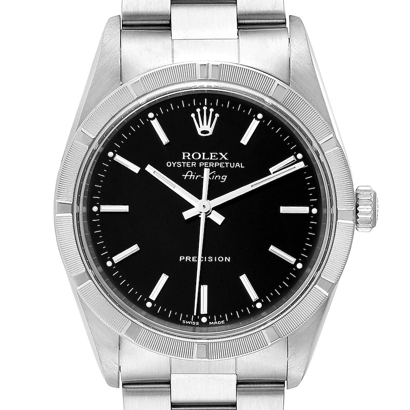 Rolex Air King 34 Black Dial Oyster Bracelet Steeel Mens Watch 14010 SwissWatchExpo