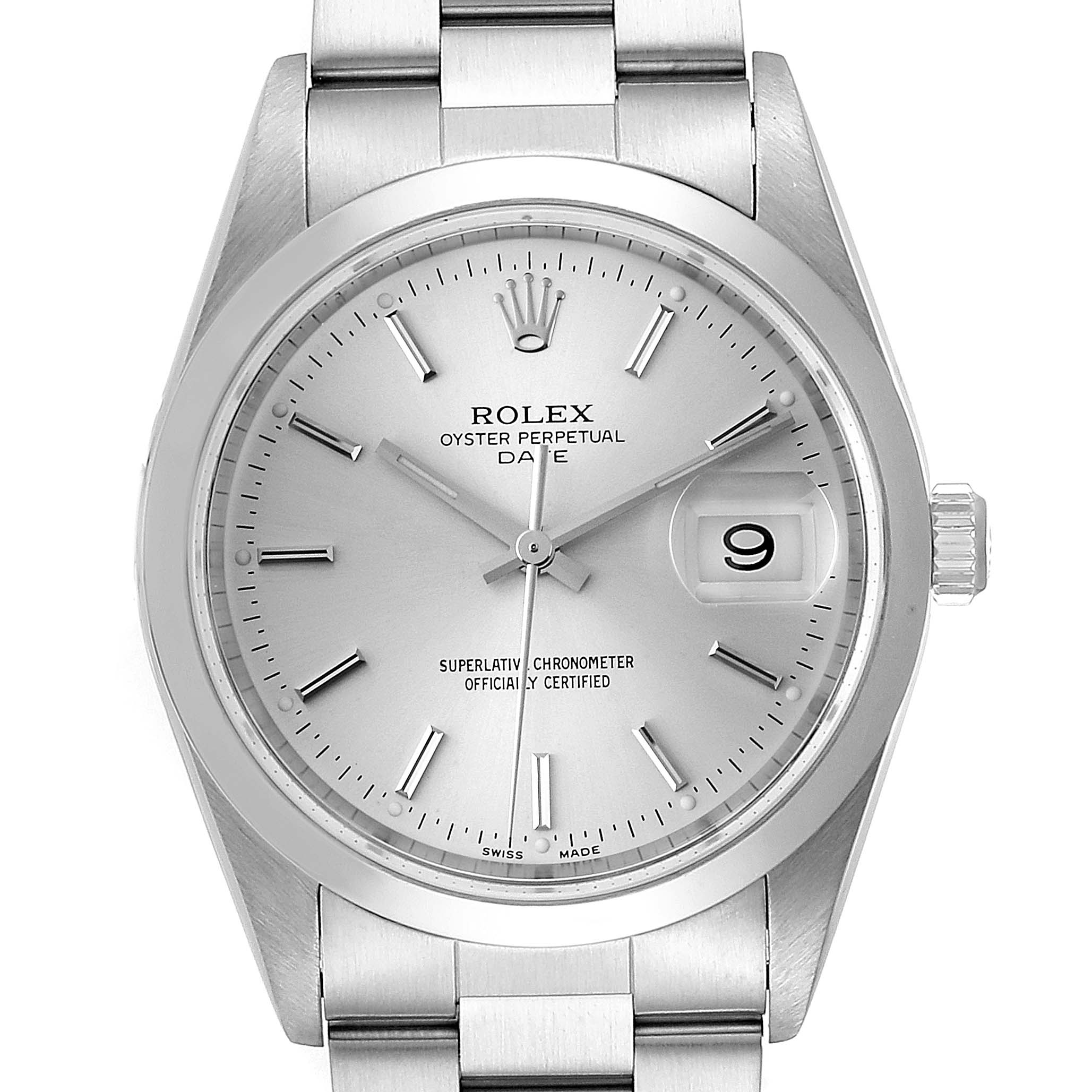 Rolex Date Silver Dial Oyster Bracelet Automatic Mens Watch 15200