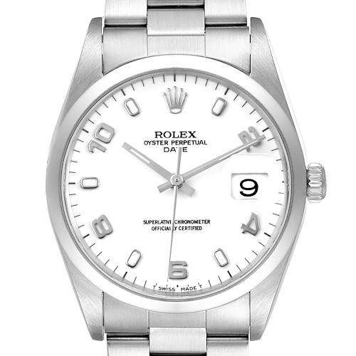 Photo of Rolex Date White Dial Oyster Bracelet Steel Mens Watch 15200