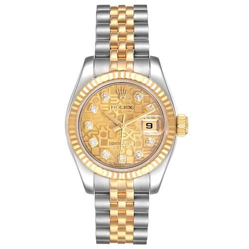 Photo of Rolex Datejust 26 Steel Yellow Gold Diamond Ladies Watch 179173 Box Card